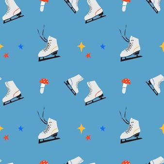 Modèle sans couture avec patins à glace