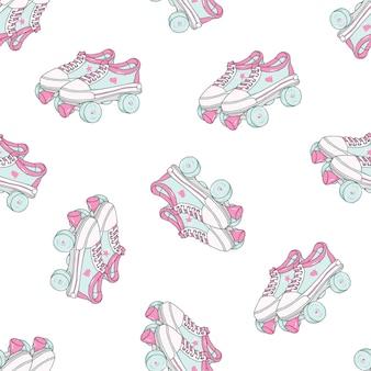Modèle sans couture avec patins à roulettes quad sur fond blanc.