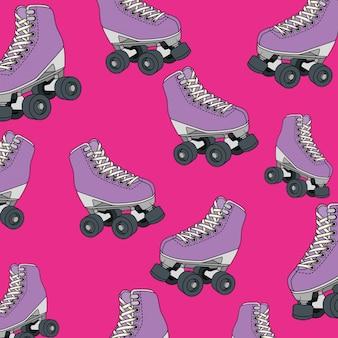 Modèle sans couture de patins à roulettes de style rétro des années nonante