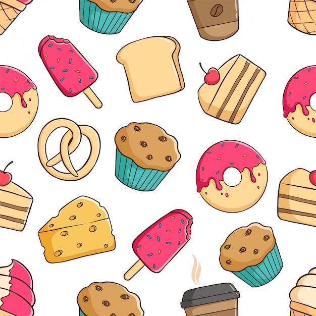 Modèle sans couture de pâtisserie pour le petit déjeuner avec style doodle coloré