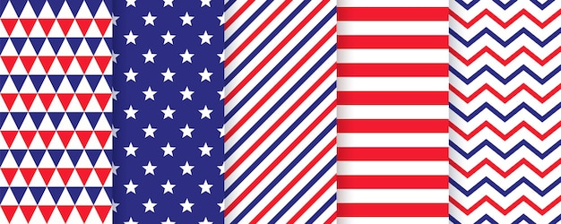 Modèle sans couture patriotique. impressions du 4 juillet. vecteur. textures de joyeux jour de l'indépendance. ensemble d'arrière-plans géométriques du drapeau américain avec des étoiles, des rayures, des zigzags et des triangles. illustration moderne simple.