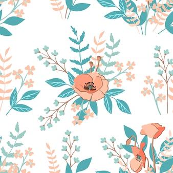Modèle sans couture avec pavot rustique et autres fleurs sauvages, vecteur
