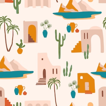 Modèle sans couture avec paysage du sud. méditerranée, afrique du nord