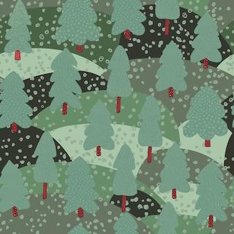 Modèle sans couture de paysage forestier.