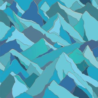 Modèle sans couture avec paysage de montagnes. toile de fond