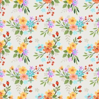 Modèle sans couture de peinture à la main fleurs colorées