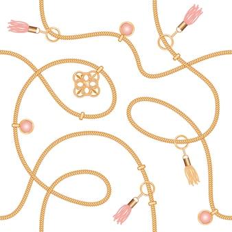 Modèle sans couture avec pendentif de chaînes et des glands.