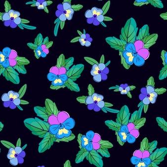 Modèle sans couture de pensées mignonnes avec des fleurs de différentes couleurs.