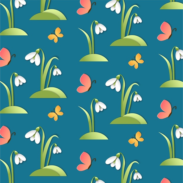 Modèle sans couture de perce-neige de printemps