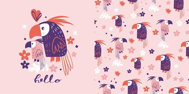 Modèle sans couture de perroquets mignons