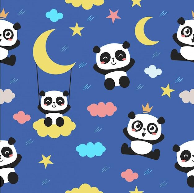 Modèle sans couture avec un personnage de panda mignon bébé.