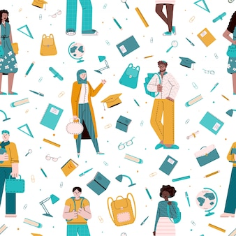 Modèle sans couture avec des personnages de dessins animés de jeunes multiethniques, illustration vectorielle de croquis. des étudiants de différentes races avec des sacs à dos et des livres dans un décor reproductible.