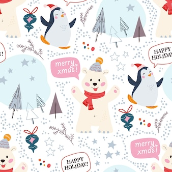 Modèle sans couture avec des personnages drôles d'ours polaire et de pingouin dans des chapeaux, des éléments de décor abstraits, des sapins. pour les cartes de noël, les invitations, le papier d'emballage, etc. illustration vectorielle plane de dessin animé.