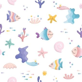Modèle sans couture de personnages mignons poissons de mer