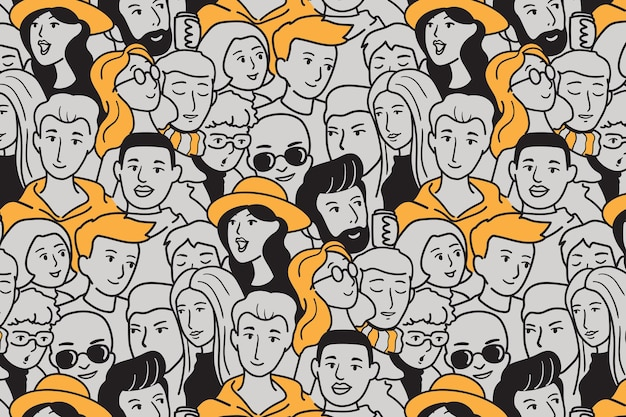 Modèle sans couture de personnes dessinés à la main illustration