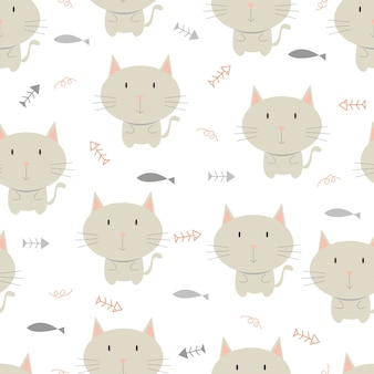 Modèle sans couture de petit chat, fond animal.
