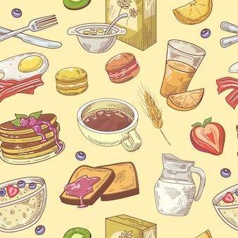 Modèle sans couture de petit déjeuner dessiné à la main