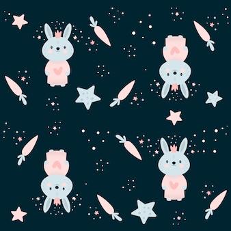 Modèle sans couture avec petit lapin, carottes et étoiles