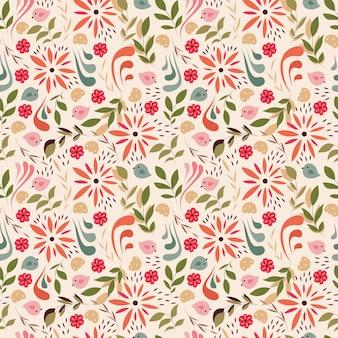 Modèle sans couture avec des petites fleurs, des éléments floraux, des oiseaux