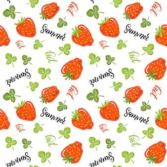 Modèle sans couture avec petites fraises, feuilles, lettrage à la main