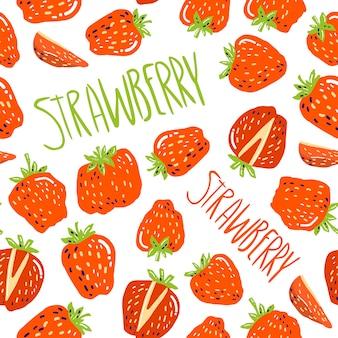 Modèle sans couture avec petites fraises et lettrage à la main aux fraises.