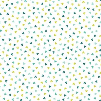 Modèle sans couture avec de petits coeurs verts et bleus