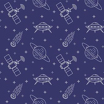 Modèle sans couture avec des pictogrammes de cosmos de ligne.
