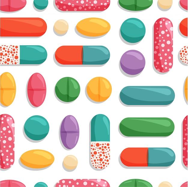 Modèle sans couture avec des pilules colorées. symboles médicaux et pharmaceutiques isolés sur fond blanc.