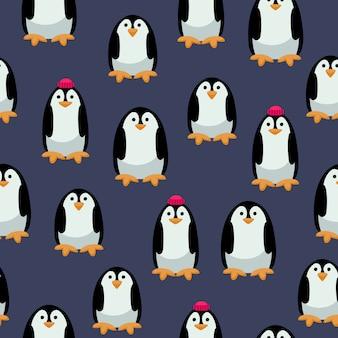 Modèle sans couture de pingouins mignons.