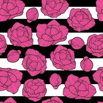 Modèle sans couture de pivoine. modèle sans couture avec un ornement naturel. fleur de pivoine vintage tropical motif floral sans soudure de fond blanc. fleur de pivoine chinoise, orientale, orientale.