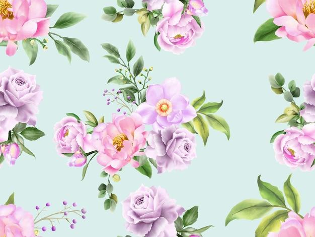 Modèle sans couture de pivoine et roses