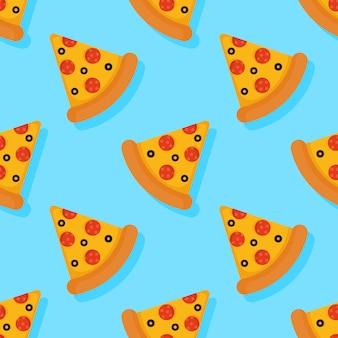 Modèle sans couture de pizza sur fond bleu.