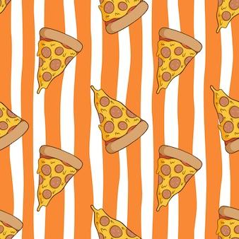 Modèle sans couture de pizza savoureuse avec style doodle coloré