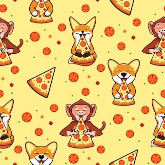 Modèle sans couture de pizza, texture, impression, surface avec des animaux