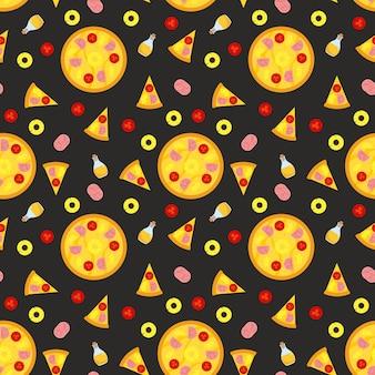 Modèle sans couture de pizza avec des tranches et des ingrédients.