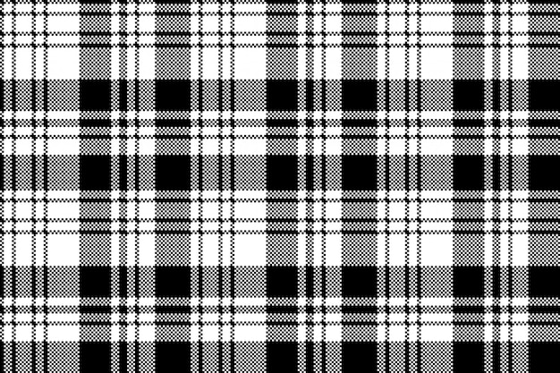 Modèle sans couture de plaid blanc noir pixel