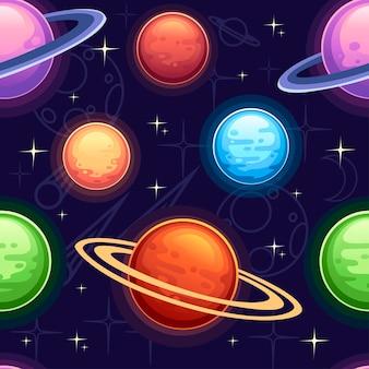 Modèle sans couture de planètes colorées de dessin animé sur illustration vectorielle plane fond sombre.