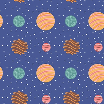 Modèle sans couture de planètes fantastiques. contexte de l'univers. illustration vectorielle.