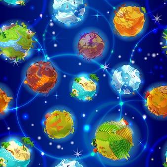 Modèle sans couture de planètes de terre de dessin animé