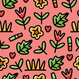 Modèle sans couture de plante de dessin animé doodle