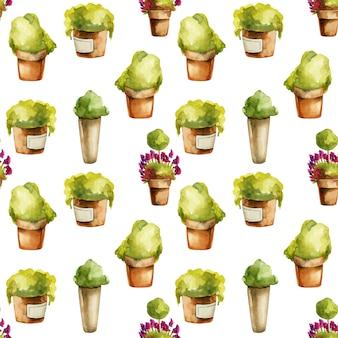 Modèle sans couture de plantes aquarelles dans des pots en argile