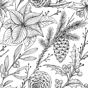 Modèle sans couture avec des plantes d'hiver dessinés à la main.