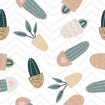 Modèle sans couture avec des plantes d'intérieur décoratives. plantes à la mode qui poussent dans des pots. ensemble de belles décorations naturelles pour la maison. illustration vectorielle plat coloré avec texture or.