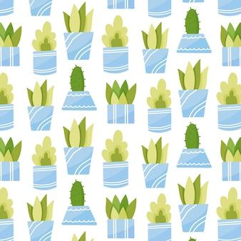 Modèle sans couture de plantes d'intérieur. plantes succulentes en pots orange, bleu, violet. illustration vectorielle dessinés à la main