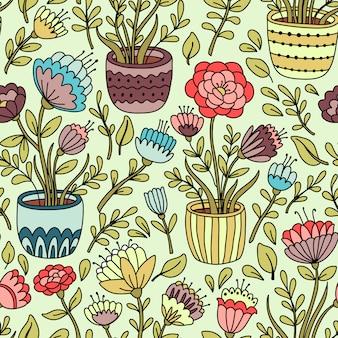Modèle sans couture avec plantes d'intérieur