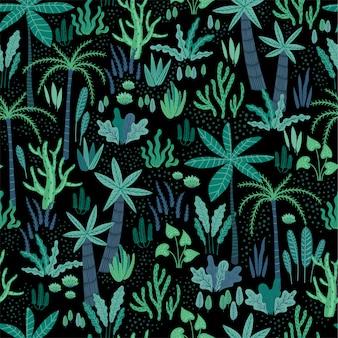Modèle sans couture avec des plantes tropicales abstraites