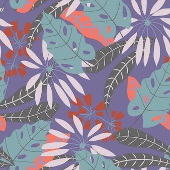 Modèle sans couture avec des plantes tropicales sur violet