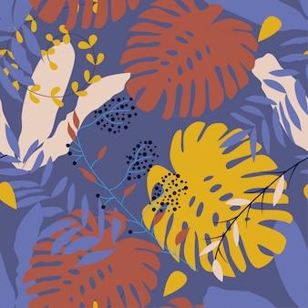 Modèle sans couture de plantes tropicales sur violet
