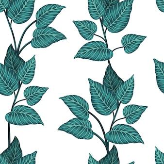 Modèle sans couture de plantes tropicales