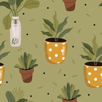 Modèle sans couture avec des plantes.